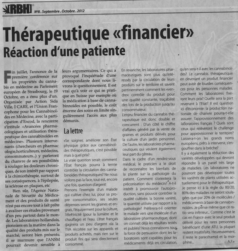 RBH N° 8 : Thérapeutique «Financier» Réaction d'une patiente