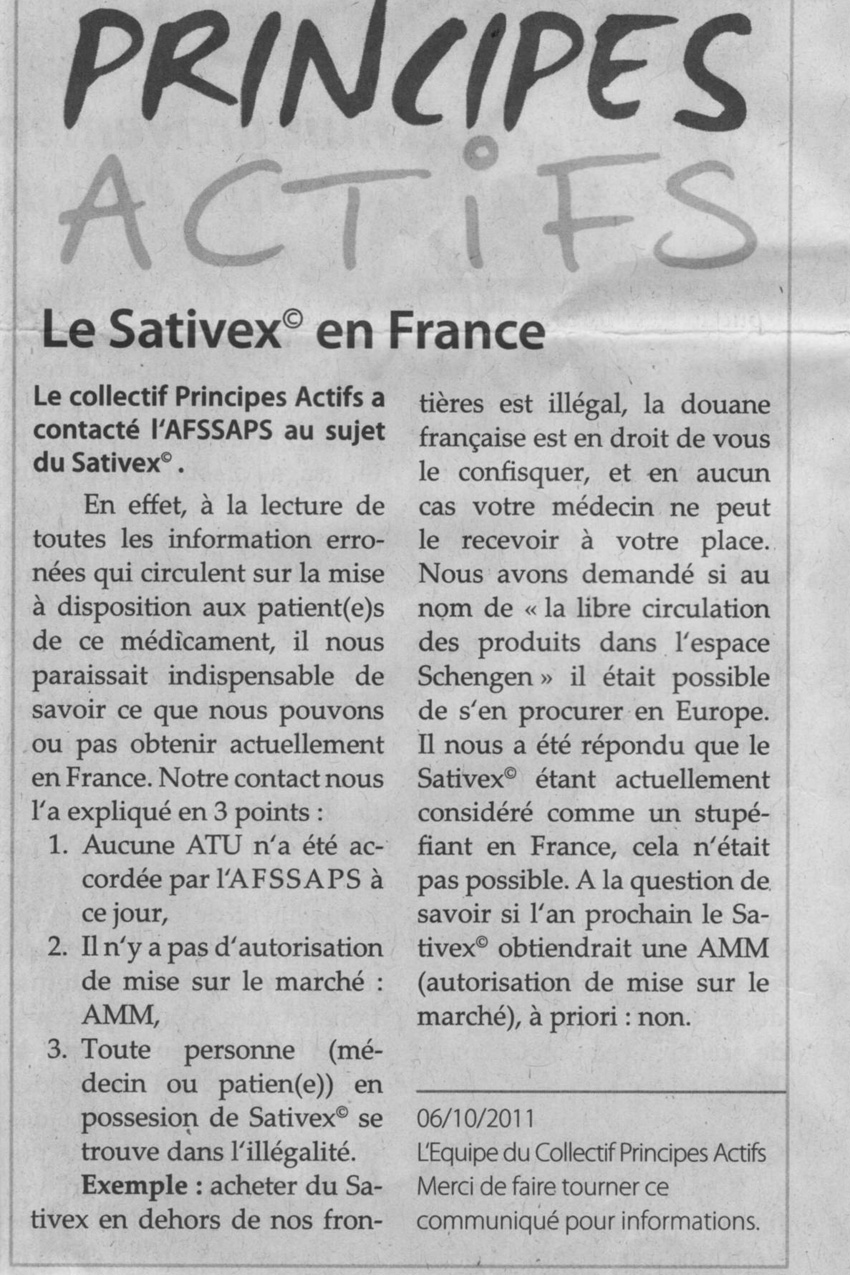 Principes Actifs : Le sativex en France – RBH N° 4