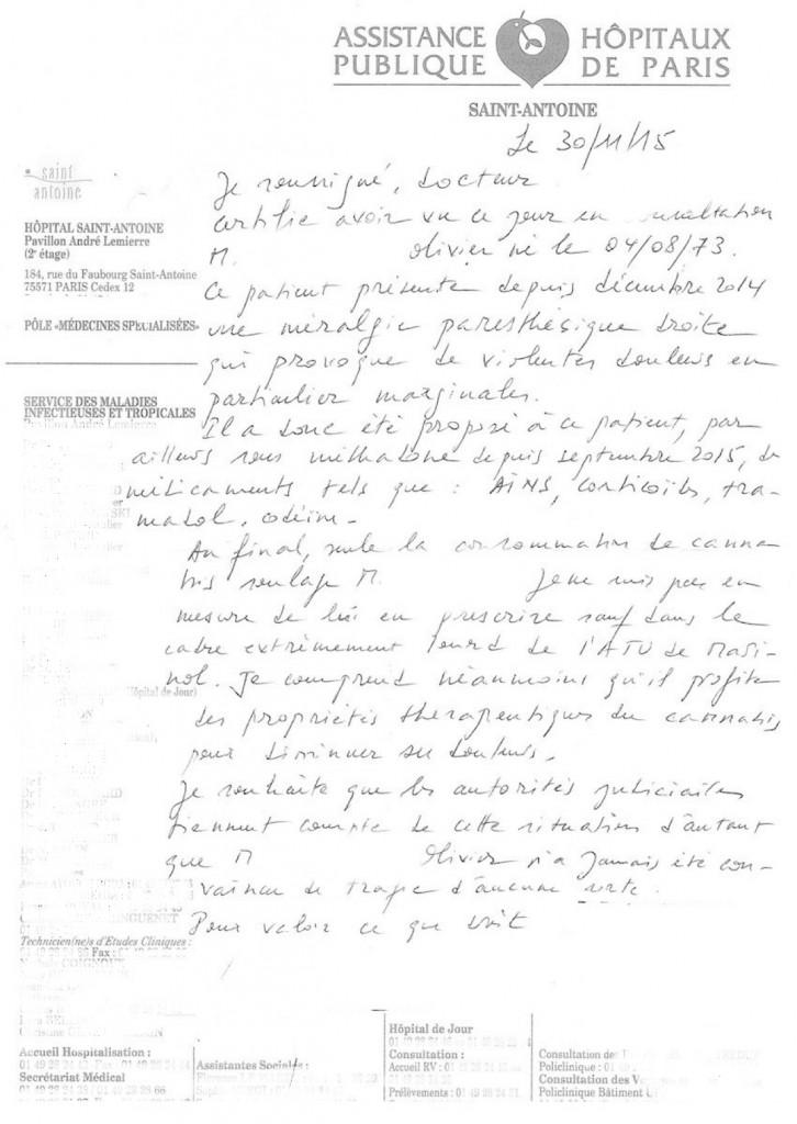 Attestation Olivier Rousseau gommée